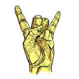 Βράχος - και - σημάδι χεριών ρόλων Στοκ εικόνες με δικαίωμα ελεύθερης χρήσης
