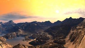 βράχος λιμνών τοπίων Στοκ Εικόνα