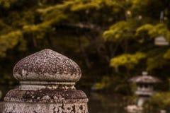 Βράχος πέρα από μια λίμνη με ένα μουτζουρωμένο πράσινο υπόβαθρο στοκ εικόνες