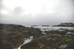 Βράχος πουλιών, παραλία χαλικιών, Drive 17 μιλι'ου, Καλιφόρνια, ΗΠΑ Στοκ εικόνες με δικαίωμα ελεύθερης χρήσης