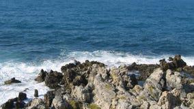 Βράχος στην παραλία της θάλασσας, βαθιά μπλε επιφάνεια νερού με τα ήπια κύματα απόθεμα βίντεο