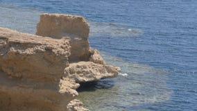 Βράχος στη Ερυθρά Θάλασσα στην παραλία της Αιγύπτου Λεπτό υπόβαθρο για τις διακοπές θερέτρου φιλμ μικρού μήκους