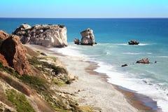 Βράχος Aphrodite (Petra Tou Romiou) Κύπρος Στοκ Εικόνες