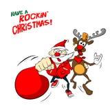 Βράχος Santa και απεικόνιση ταράνδων Στοκ φωτογραφία με δικαίωμα ελεύθερης χρήσης