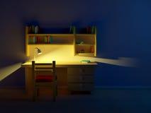 Βράδυ δωματίων παιδιών σχολείου ελεύθερη απεικόνιση δικαιώματος