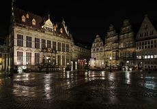 Βρέμη, Γερμανία - 12 Μαρτίου 2018 - ιστορικό τετράγωνο αγοράς στη Βρέμη, Γερμανία με το εμπορικό επιμελητήριο και διάφορος άλλος  Στοκ φωτογραφίες με δικαίωμα ελεύθερης χρήσης