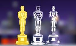 Βραβεία ταινιών Σύνολο γραπτού βραβείου σκιαγραφιών απεικόνιση Στοκ φωτογραφία με δικαίωμα ελεύθερης χρήσης