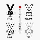 Βραβείο, τιμή, μετάλλιο, τάξη, φήμη, εικονίδιο κορδελλών στη λεπτά, κανονικά, τολμηρά γραμμή και το ύφος Glyph r ελεύθερη απεικόνιση δικαιώματος