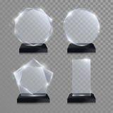 Βραβείο τροπαίων γυαλιού Διανυσματικός τρισδιάστατος διαφανής κρυστάλλου διανυσματική απεικόνιση
