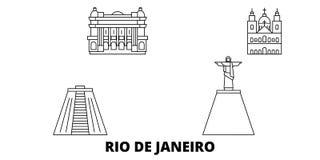 Βραζιλία, σύνολο οριζόντων ταξιδιού γραμμών Ρίο ντε Τζανέιρο Βραζιλία, διανυσματική απεικόνιση πόλεων περιλήψεων Ρίο ντε Τζανέιρο διανυσματική απεικόνιση