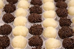 Βραζιλιάνα καραμέλα κομμάτων όπως ξέρει ως brigadeiro Γίνοντας με τη γλυκιά συμπυκνωμένη σκόνη γάλακτος και κακάου στοκ εικόνα