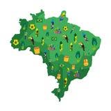 Βραζιλιάνος χάρτης με τα εικονίδια πολιτισμού ελεύθερη απεικόνιση δικαιώματος
