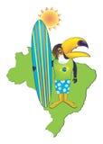 βραζιλιάνο surfer toucan διανυσματική απεικόνιση