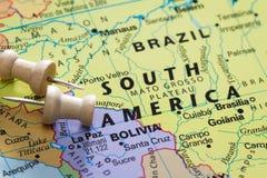 Βραζιλία σε έναν χάρτη Στοκ Εικόνα