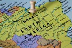 Βραζιλία σε έναν χάρτη Στοκ Εικόνες
