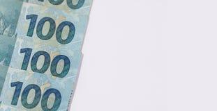 Βραζιλιάνα ανασκόπηση χρημάτων Bill αποκαλούμενοι πραγματικοί Στοκ φωτογραφία με δικαίωμα ελεύθερης χρήσης