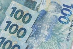 Βραζιλιάνα ανασκόπηση χρημάτων Bill αποκαλούμενοι πραγματικοί Στοκ Εικόνα