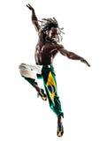 Βραζιλιάνα μαύρων σκιαγραφία άλματος χορευτών χορεύοντας Στοκ εικόνα με δικαίωμα ελεύθερης χρήσης