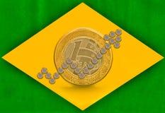 Βραζιλιάνα σημαία αύξησης Στοκ φωτογραφία με δικαίωμα ελεύθερης χρήσης