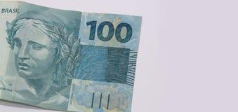 Βραζιλιάνα χρήματα με το κενό διάστημα Bill αποκαλούμενοι πραγματικές, διαφορετικές τιμές Στοκ φωτογραφία με δικαίωμα ελεύθερης χρήσης