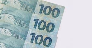 Βραζιλιάνα χρήματα με το κενό διάστημα Bill αποκαλούμενοι πραγματικές, διαφορετικές τιμές Στοκ Φωτογραφία