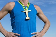 Βραζιλιάνος αθλητής με το χρυσό μετάλλιο Cristo Στοκ φωτογραφίες με δικαίωμα ελεύθερης χρήσης