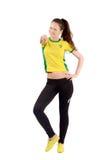 Βραζιλιάνος αθλητικός ανεμιστήρας που δείχνει στο μέτωπο σε σας Στοκ Εικόνες