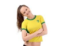 Βραζιλιάνος αθλητικός ανεμιστήρας που χαμογελά και ευτυχής. Στοκ εικόνες με δικαίωμα ελεύθερης χρήσης