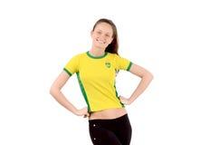Βραζιλιάνος αθλητικός ανεμιστήρας που χαμογελά και ευτυχής. Στοκ Εικόνες