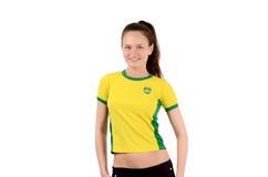 Βραζιλιάνος αθλητικός ανεμιστήρας που χαμογελά και ευτυχής. Στοκ φωτογραφία με δικαίωμα ελεύθερης χρήσης