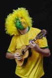 Βραζιλιάνος οπαδός ποδοσφαίρου Στοκ Φωτογραφίες