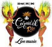 Βραζιλιάνος χορευτής samba Το διανυσματικό όμορφο κορίτσι καρναβαλιού που φορά ένα κοστούμι φεστιβάλ χορεύει Στοκ εικόνες με δικαίωμα ελεύθερης χρήσης