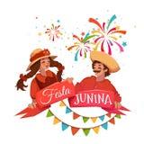 Βραζιλιάνο έμβλημα κόμματος Festa Junina επίσης corel σύρετε το διάνυσμα απεικόνισης Στοκ εικόνα με δικαίωμα ελεύθερης χρήσης