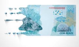 Βραζιλιάνο πραγματικό λειώνοντας στάζοντας τραπεζογραμμάτιο στοκ εικόνα