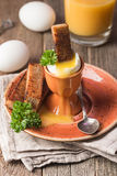 Βρασμένα αυγά και τριζάτες φρυγανιές Στοκ φωτογραφία με δικαίωμα ελεύθερης χρήσης