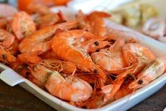 Βρασμένα στον ατμό τρόφιμα γαρίδων Στοκ Εικόνες