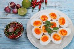 Βρασμένες αυγά και σάλτσα ψαριών Στοκ Φωτογραφία
