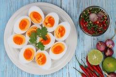 Βρασμένες αυγά και σάλτσα ψαριών Στοκ εικόνα με δικαίωμα ελεύθερης χρήσης
