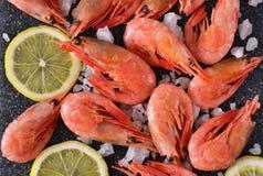 Βρασμένες γαρίδες με το άλας και το λεμόνι Στοκ Φωτογραφίες