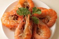 Βρασμένες στον ατμό γαρίδες στο πιάτο Στοκ Εικόνες