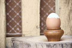 Βρασμένο αυγό στην ξύλινη στάση στοκ εικόνες