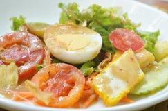 Βρασμένο κάλυμμα αυγό φρέσκων λαχανικών που ντύνει την ινδική σαλάτα σάλτσας στο πιάτο Στοκ φωτογραφίες με δικαίωμα ελεύθερης χρήσης