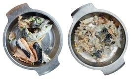 Βρασμένο κεφάλι σολομών από τη σούπα ψαριών σε ένα μεταλλικό πιάτο Στοκ φωτογραφία με δικαίωμα ελεύθερης χρήσης