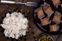 βρασμένο ρύζι κρέατος Στοκ Φωτογραφία