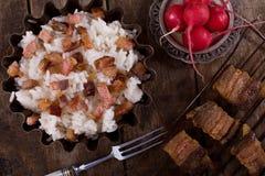 βρασμένο ρύζι ραδικιών κρέατος Στοκ Φωτογραφία