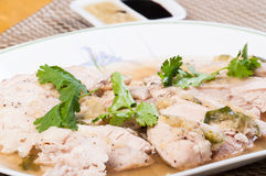Κοτόπουλο Haianese ή βρασμένο στον ατμό κοτόπουλο Στοκ Εικόνες