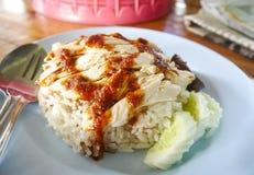 Βρασμένο στον ατμό ρύζι κοτόπουλο Στοκ Εικόνες