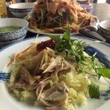 Βρασμένο στον ατμό ρύζι με το κοτόπουλο σε Hoi ένα ύφος στοκ φωτογραφίες