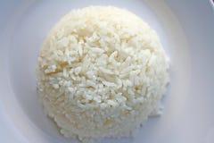 Βρασμένο στον ατμό ρύζι στο άσπρο πιάτο στοκ εικόνες με δικαίωμα ελεύθερης χρήσης