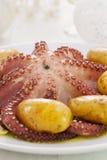 Βρασμένο χταπόδι με την πατάτα Στοκ Εικόνα